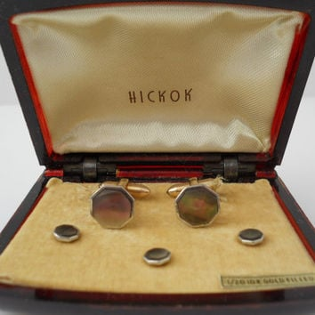 Hickok Abalone Cufflink Stud Set In Box 1/20 10k Gold Filled Hexagon Cufflinks Set
