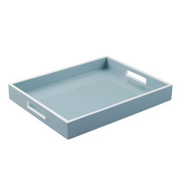 Cool Gray with white Trim Lacquer Reiko Tray