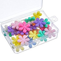 TecUnite 30 Pieces Multicolor Plastic Flower Head Wire Loop Needle Threader with Clear Box
