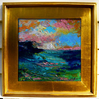 High Bluff Distant -   Original Oil Painting Landscape Painting by Claire McElveen Southern  Abstract Impressionist Artist, 12 x 12 inches