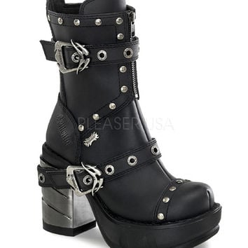Demonia Multi Strap Studded Ankle Boots