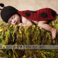 Crochet Costume - The Lady Bug outfit for newborn baby - Great Photo Prop or Perfect Baby Shower Gift