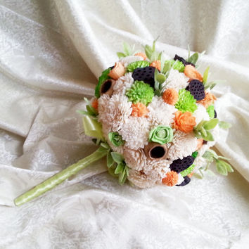 BIG Cream orange green rustic wedding BOUQUET sola Flowers, dried lotos, bell cup, olive bunch, spring summer wedding,