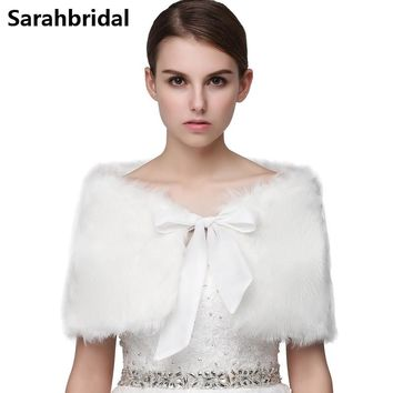 2017 New Arrival Faux Fur Jacket Wrap Shrug Bolero Coat Wrap Shawl Cape Bridal Wedding Shawl Bridal Wedding Accessories 17001