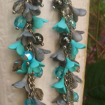 Fairy jewelry - Necklace earrings set -Artisan jewelry - Turquoise grey