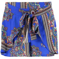 Claire Wrap Tie Front Scarf Print Shorts | Boohoo