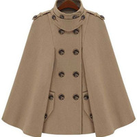 Camel Epaulet Double Breasted Cape