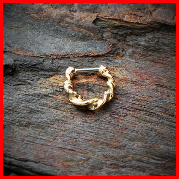Gold Septum Clicker Ring Twisted 316L Surgical Steel 16G 14G Septum Ring Clicker