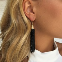 Black Bead Dangle Earrings