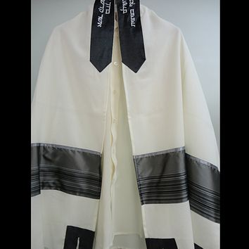 Gray Panel Wool Tallit, Bar Mitzvah Tallit