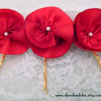 Red flower hair pins, 3 hairpins set, red hairpins, red bridal accessories, red silk flower pins, bridesmaid accessory, flower girl hair