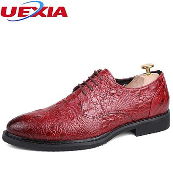 UEXIA Dress Breathable Man Shoes Business Red Leather Formal Wedding Shoes Men Brogue Pointed Office Oxfords Crocodile pattern