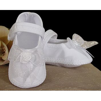 Mary Jane Style White Bootie Shoes with Organza Bow Baby Girls 0-9M