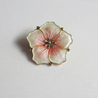 Pansy Pin, Pink & White Enamel, Norway Sterling, Aksel Holmsen, Basse-Taille Brooch, Adorable!