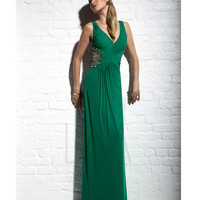 LM by Mignon AL3141 Emerald Green V-Neck Jersey Gown Prom 2015