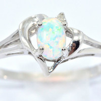 0.50 Carat Opal Oval Heart Diamond Ring .925 Sterling Silver Rhodium Finish White Gold Quality