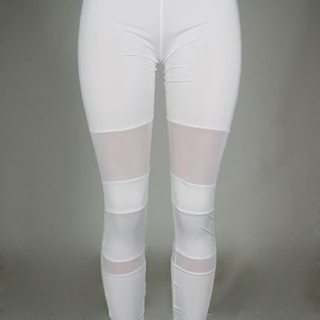 High Waist Patchwork White Fitting Pants