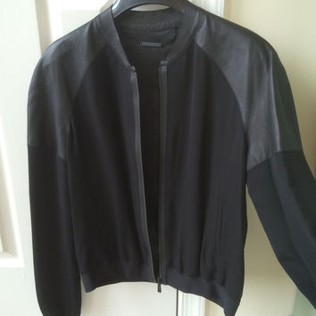 "Elie Tahari Leather And Silk ""Sandie Jacket"""