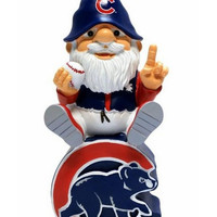 Chicago Cubs Gnome Sitting on Team Logo