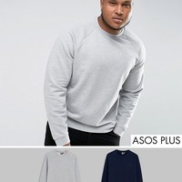 ASOS PLUS Sweatshirt 2 Pack Navy/Gray Marl SAVE at asos.com
