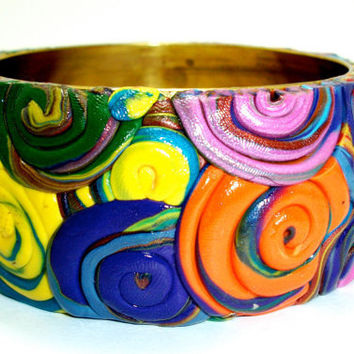 Retro Bright Polymer Clay Swirl Bangle Free by moonknightjewels