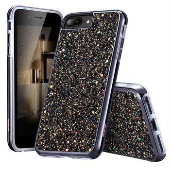 "iPhone 7 Plus Case,iPhone 6 Plus Case,ESR Glitter Sparkle Dual Layer Shockproof Hard PC Back + TPU Inner Shell for 5.5"" iPhone 7 Plus/6 Plus(Black)"
