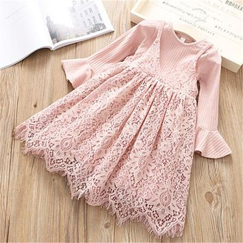 Spring kids Baby Girl Long Sleeve solid T Shirt o neck lace dress suits Clothes Children sets