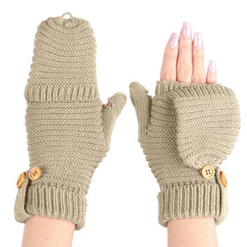 LE3NO Womens Winter Chunky Cable Knit Flip Flop Gloves