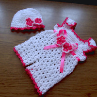 Baby Overall and Hat pattern, crochet pattern baby short overall and hat, 2patterns in 5 sizes