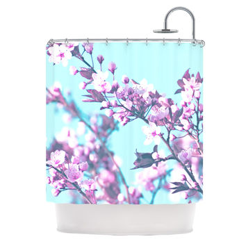 "Monika Strigel ""Cherry Phantasy"" Blue Pink Shower Curtain"
