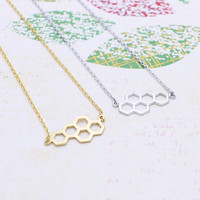 Beehive  necklace in  silver or gold tone