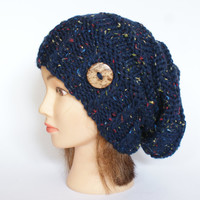 Slouchy beanie hat navy blue tweed slouch hats chunky knitted hat for women handknit beanies with button accessory