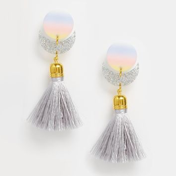 Suzywan DELUXE Glitter Moon Short Tassel Earrings