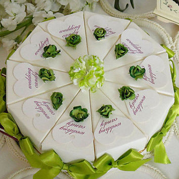 Touch Of Green Cake Favor Box (Set of 10) Lily And Rose Cake Favor Box (Set of 10)