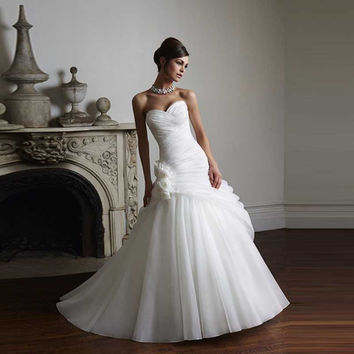 2016 Seller Recommended Organza Sweetheart Ball Gown Wedding Dresses Flowers Pleat On Discounted Bridal Gown Wedding Dresses