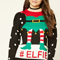 #Elfie Graphic Holiday Sweater