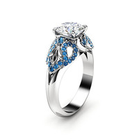 Art Deco Engagement Ring 14K White Gold Ring Moissanite Engagement Ring Blue Diamonds Ring