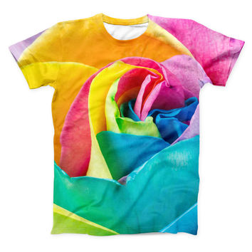 The Rainbow Dyed Rose V2 ink-Fuzed Unisex All Over Full-Printed Fitted Tee Shirt