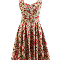 Red Floral Sleeveless Halter Backless Skater A-line Sheath Mini Dress