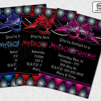 Masquerade Invitations, Masquerade Invitation, Sweet 16 Invitation, Sweet Sixteen Invitation, Adult Invitation, Masquerade Party Invitations