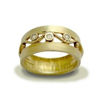 14K yellow gold ring inlaid diamonds Entertainment by artisanlook