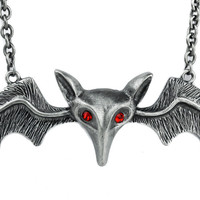"""Lily Munster 5"""" Silver Bat Necklace Vampire"""