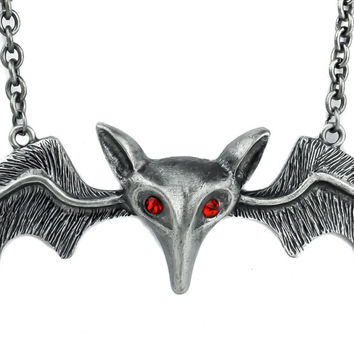 "Lily Munster 5"" Silver Bat Necklace Vampire"