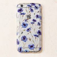 Clear Blue Floral floral flower iPhone 6S/ 6 case