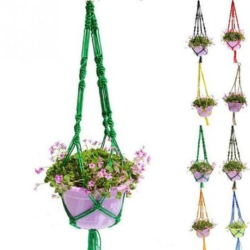 VONL8T Garden Potted Plants Holding Net Plant Pot Hanger Macrame Jute For Indoor Outdoor Ceiling Holder Hanging Baskets