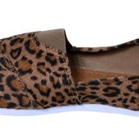 Women Canvas Slip-on Flats Leopard Print