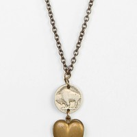 Lux Revival Buffalo Nickel Heart Necklace - Urban Outfitters