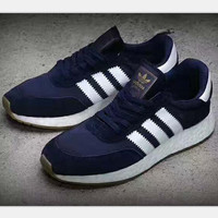 Adidas Retro Iniki Runner Boost sports shoes navy blue-white soles-white line H-PSXY