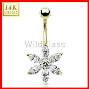 14k Solid Gold Ring 14g Belly Button Ring Petal Flower Multi CZ Prong 14k Yellow Gold 14g Navel Ring Navel Jewelry Belly Button Jewelry