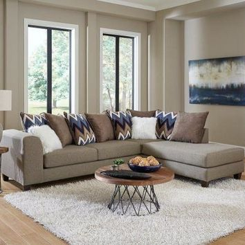 Chevron and Taupe Sectional Sofa